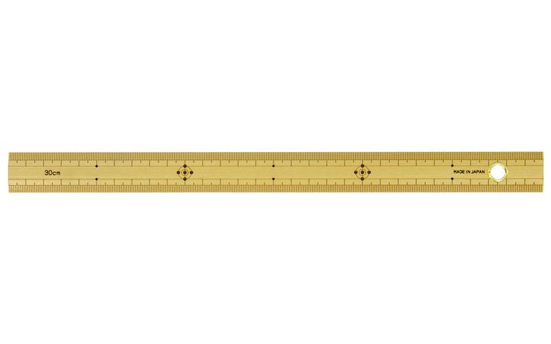 竹製ものさし  30㎝  上下段1㎜ピッチ  ハトメ付