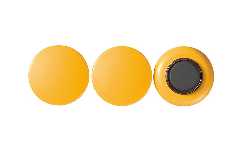 強力カラーマグネット  ヨーク付  φ40  黄  3ヶ入