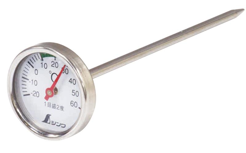 温度計  V-2  丸T字型  -20~60℃  φ3.5×13㎝  育苗用