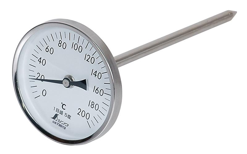 温度計  V-4  丸T字型  0~200℃  φ8×20㎝  黒目盛