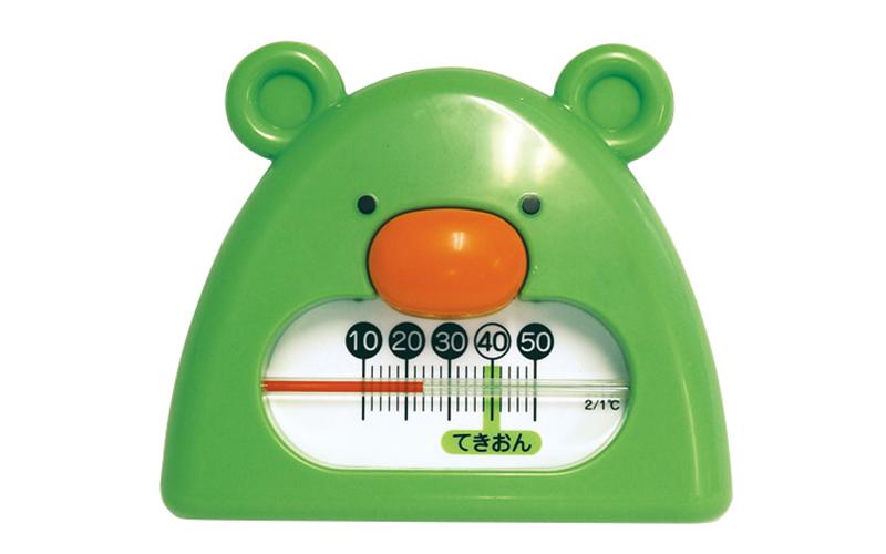 風呂用温度計  B-9  くまさん  グリーン&ホワイト