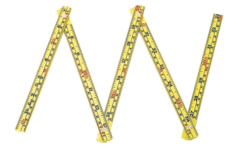 ファイバー折尺  5折  1m  併用目盛  イエロー